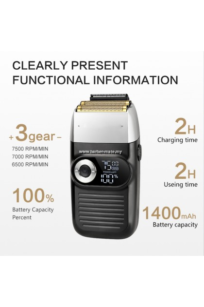 KEMEI FOIL SHAVER LCD DISPLAY CORDLESS RECHARGEABLE HAIR TRIMMER CLIPPER KM-2026